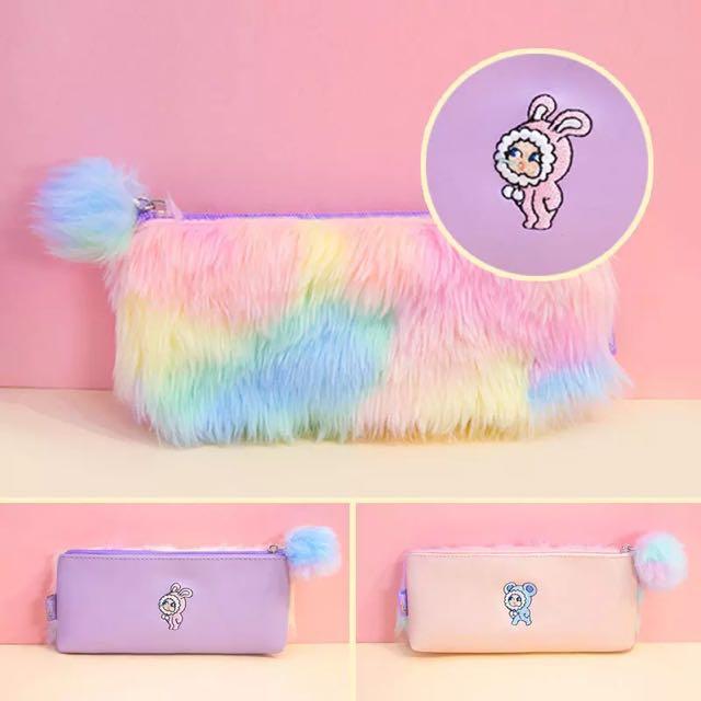 彩虹毛絨毛球筆袋