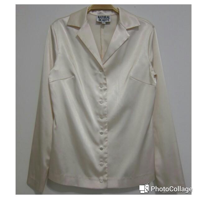 (保留)NATURAL BEAUTY 光滑緞面長袖襯衫