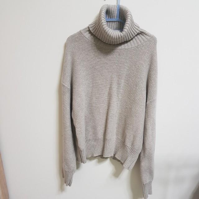 厚針織高領毛衣
