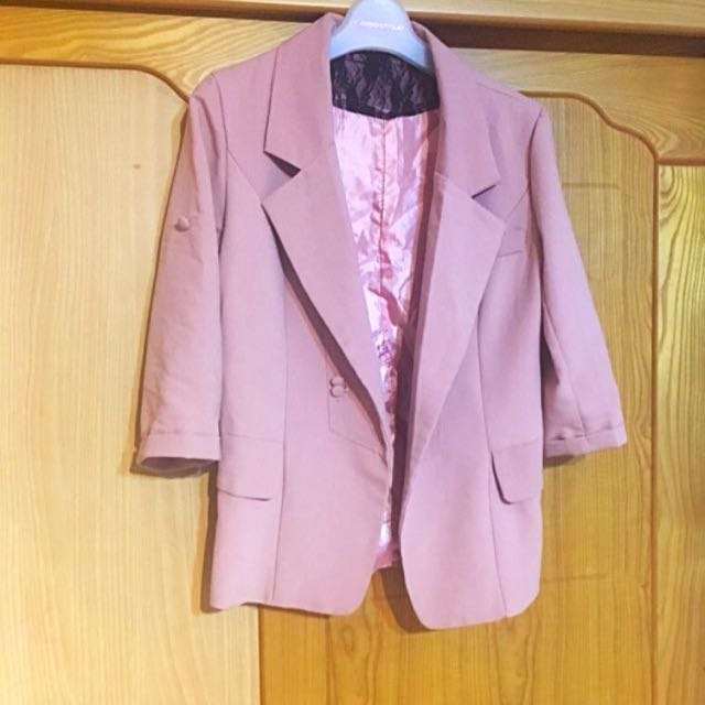 韓版粉色西裝外套