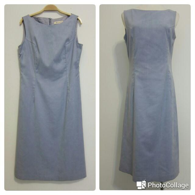 氣質優雅灰藍色連身洋裝