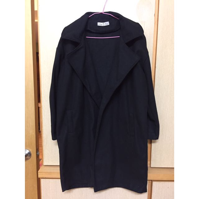 超顯瘦!韓版修身黑色大衣