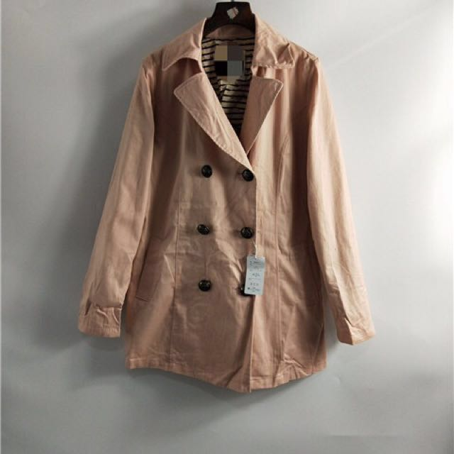 現貨 韓版翻領雙排扣風衣外套#四百不著涼