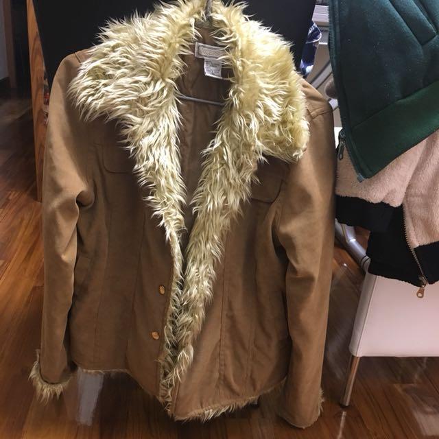 外國品牌 卡其色毛毛保暖外套