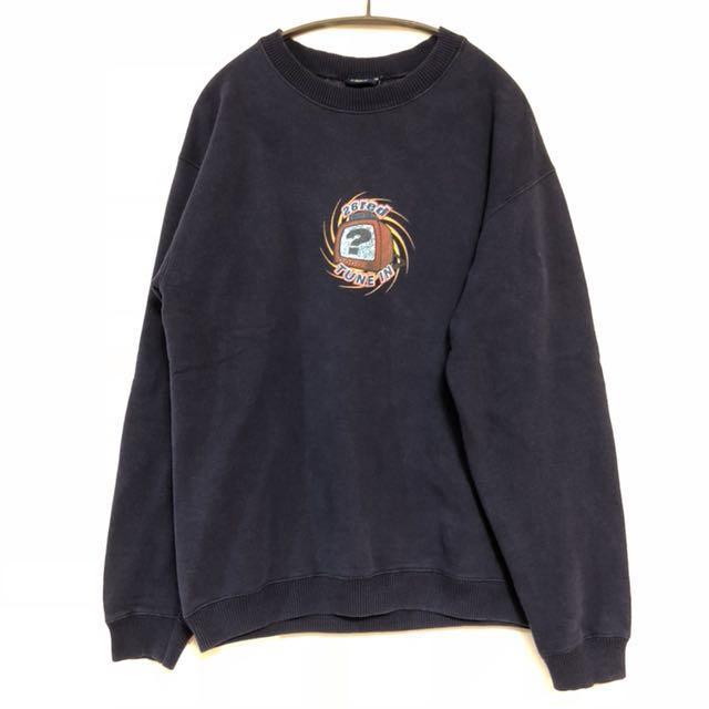 美式古著 卡通 動畫 大學棉衣sweatshirt 深藍 1月