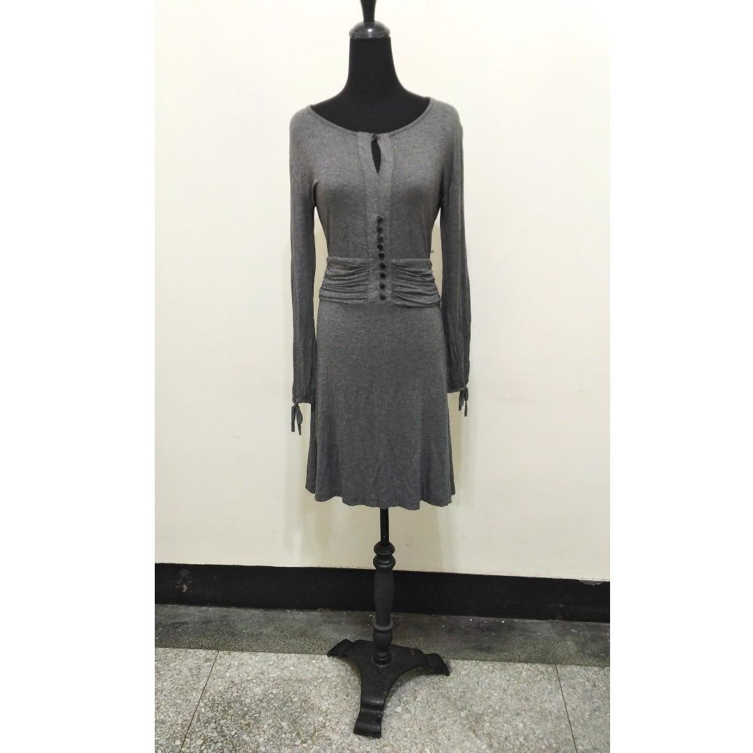 九成新~ 義大利製品牌 EUREKA 灰色 長袖 洋裝 ~ 42號 ~