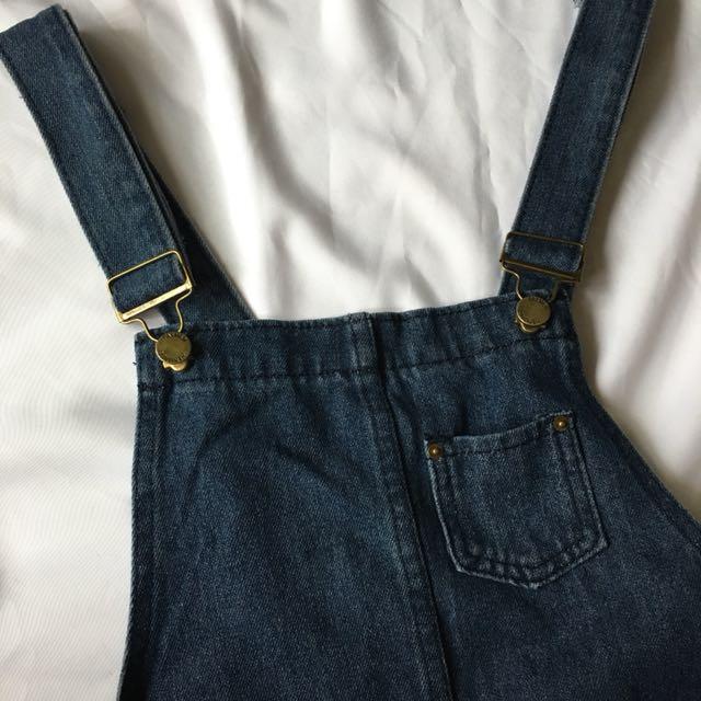 點進來看細圖 牛仔吊帶褲 尺寸M-L
