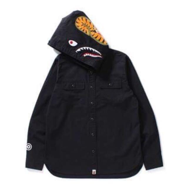 A Bathing ape bape SHARK SHIRT HOODIE 黑色鯊魚連帽襯衫 襯衫