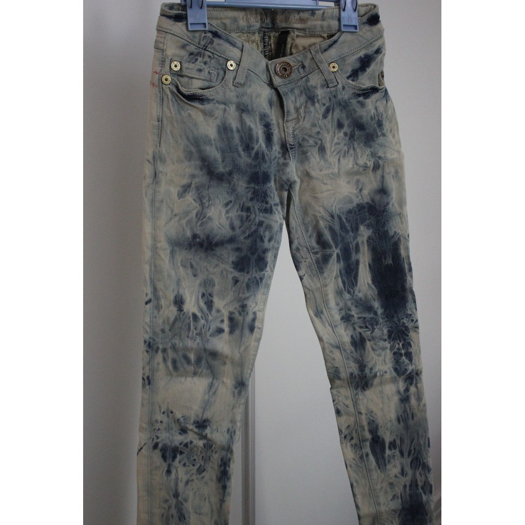 Authentic Guess Brand Skinny Jeans Tie Die Marble Patterned Size 24
