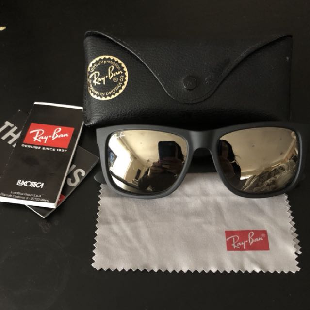 Authentic Ray-Ban Justin Black-gold sunglasses RB4165