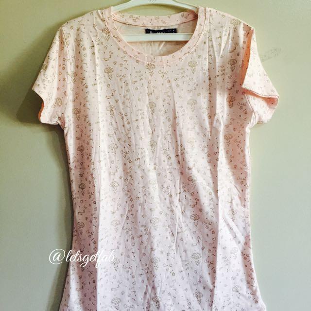 🌸Bershka Lt.Peach Various Item Printed Overrun tees t shirt