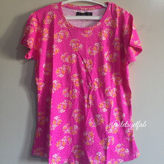 🌸Bershka Pink yellow Floral Printed Overrun tees t shirt