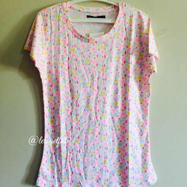 🌸Bershka Pink Yellow Green Printed Overrun tees t shirt