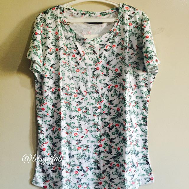 🌸Bershka White Green Plants Printed Overrun tees t shirt