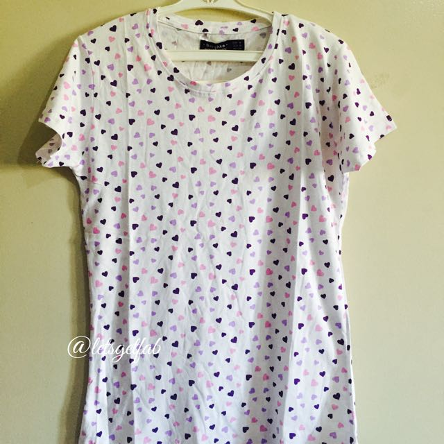 🌸Bershka White Violet Purple Heart Printed Overrun tees t shirt