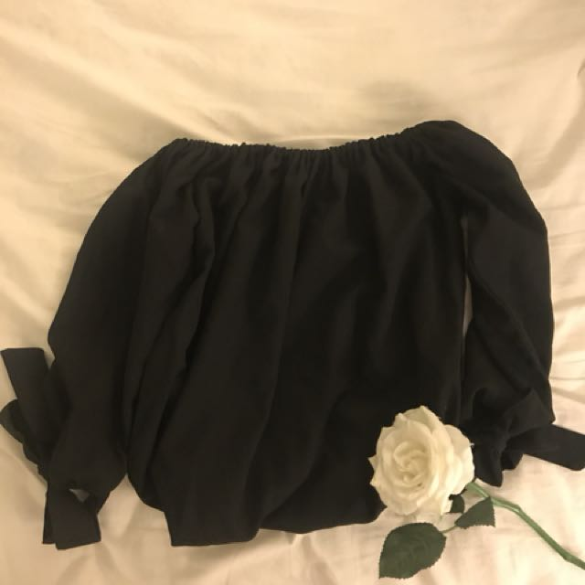 Black Off Shoulder Top with Ribbons on the Sleeves