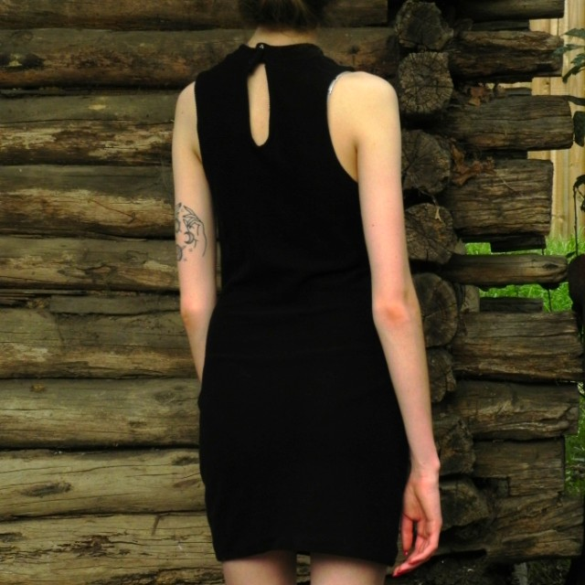 Black ribbed shift dress