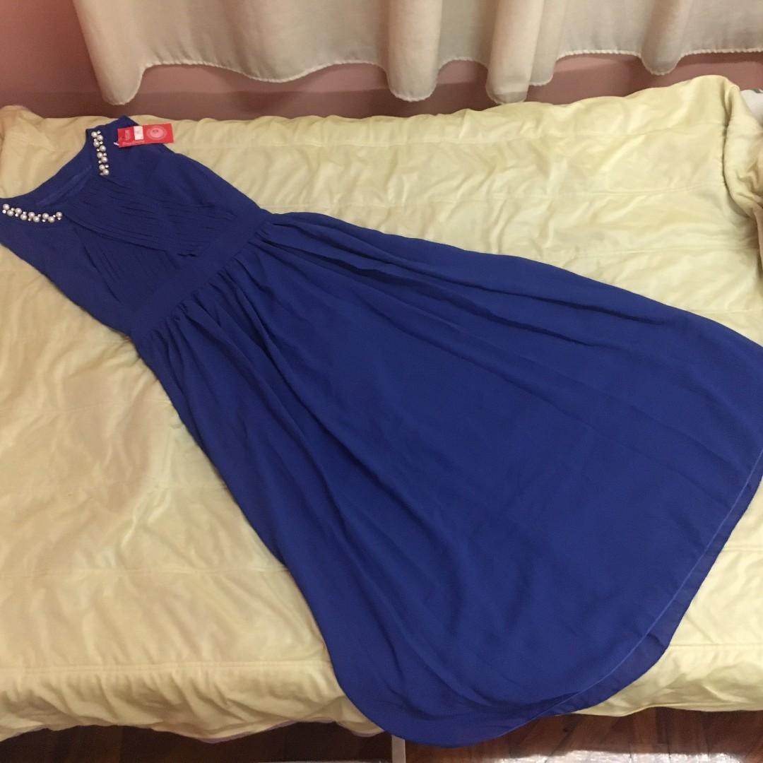 BLUE LONG FLOWY DRESS