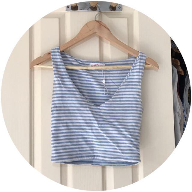 Blue stripe Crop Top