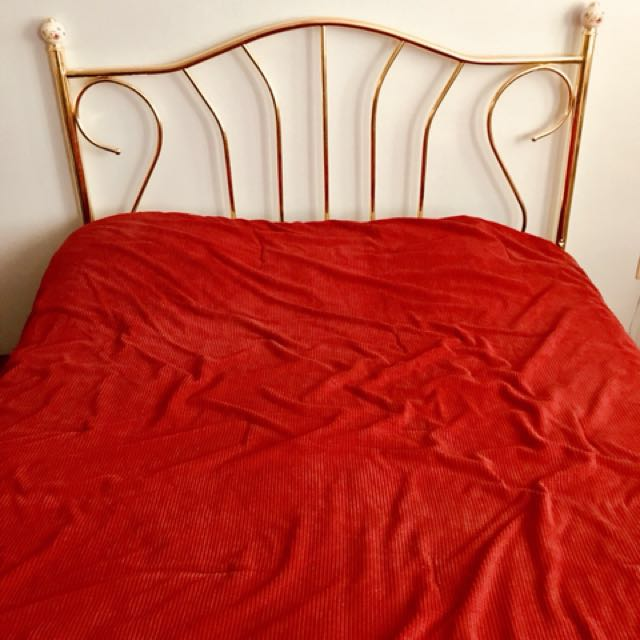 Brass headboard with hand painted finials