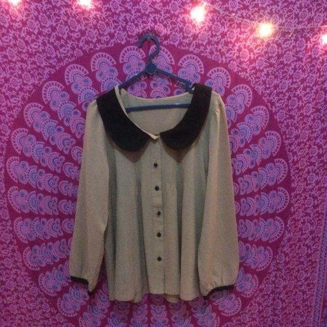 brown blouse korea