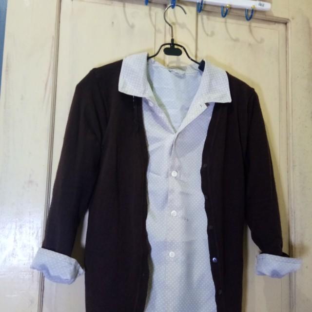 Bundling brown cardi and polka blouse