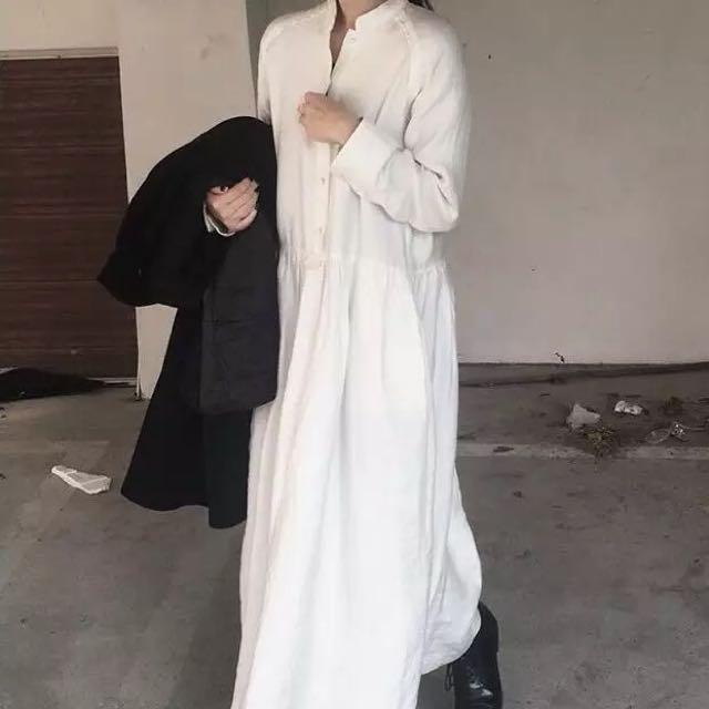 韓國chic復古小眾小立領寬鬆米白連衣裙