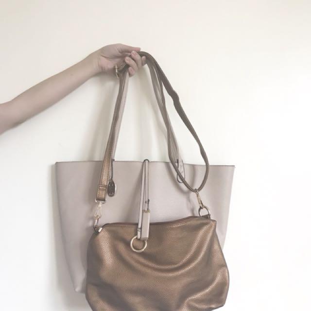 CMG: 2in1 bag (Pastel nude pink bag and bronze cross body bag)