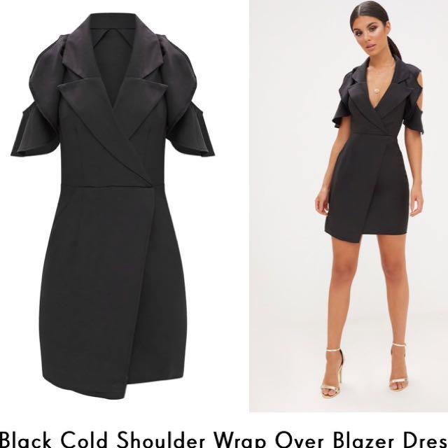 Cold shoulder blazer dress