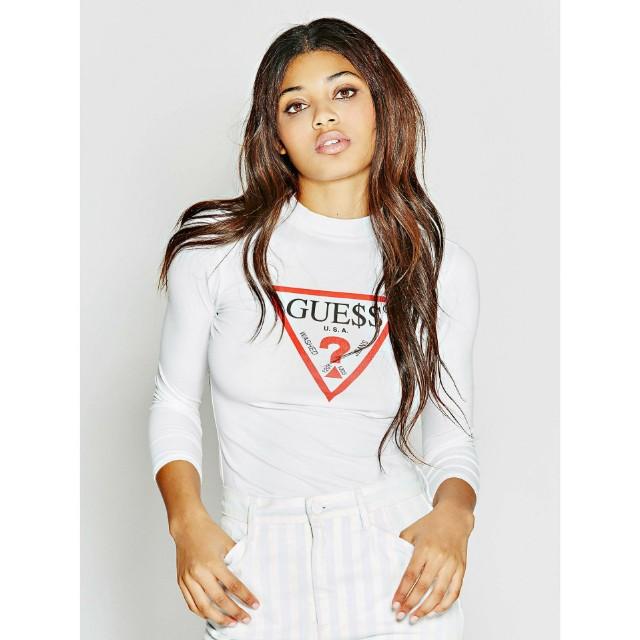 7c053d172 BNIP Guess ASAP Rocky 3-Qtr Sleeve Maxi Logo T-Shirt (True White, S ...