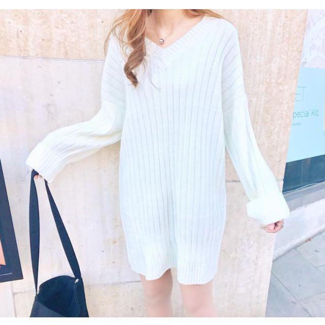 CUNZ 🇰🇷韓國連線反折袖長版針織上衣/洋裝