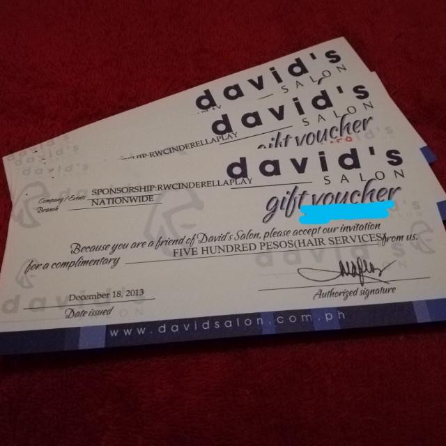 David's Salon Gift Voucher Worth 1,5k Sale