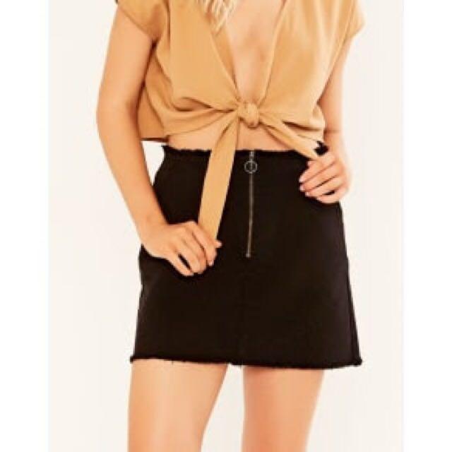 Denim high waist mini with front zip size 6