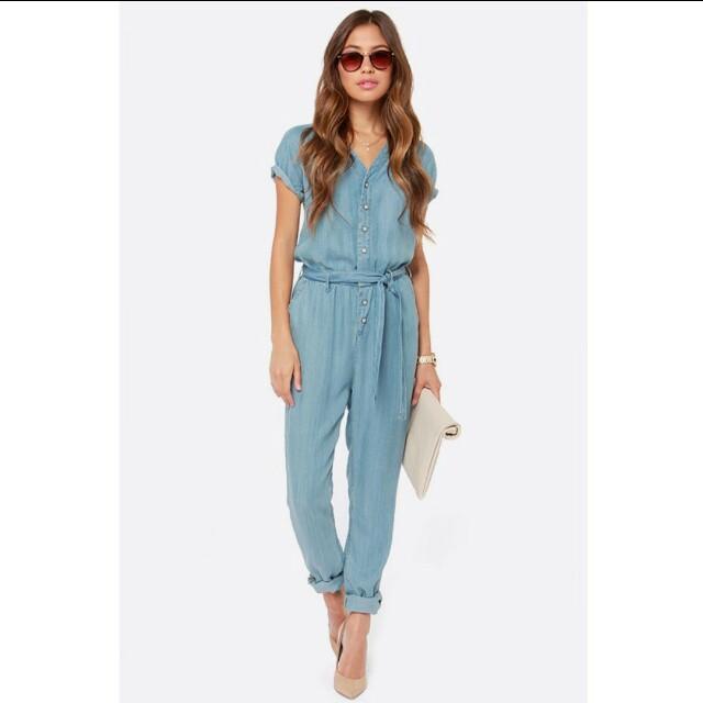 tiedot 100% laatu ei myyntiveroa Dittos Sela Blue Denim Romper / Jumpsuit, Women's Fashion ...