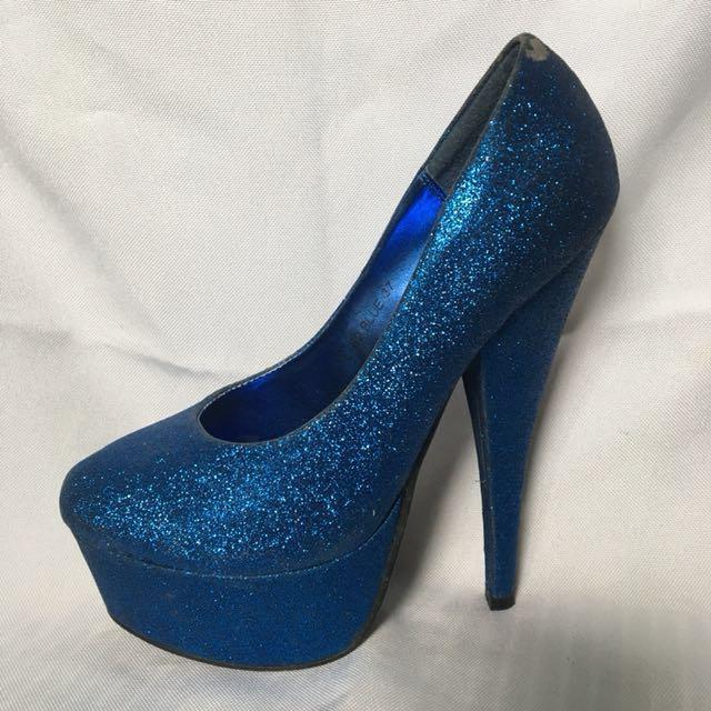 Elegant Blue Peep Toe Heels