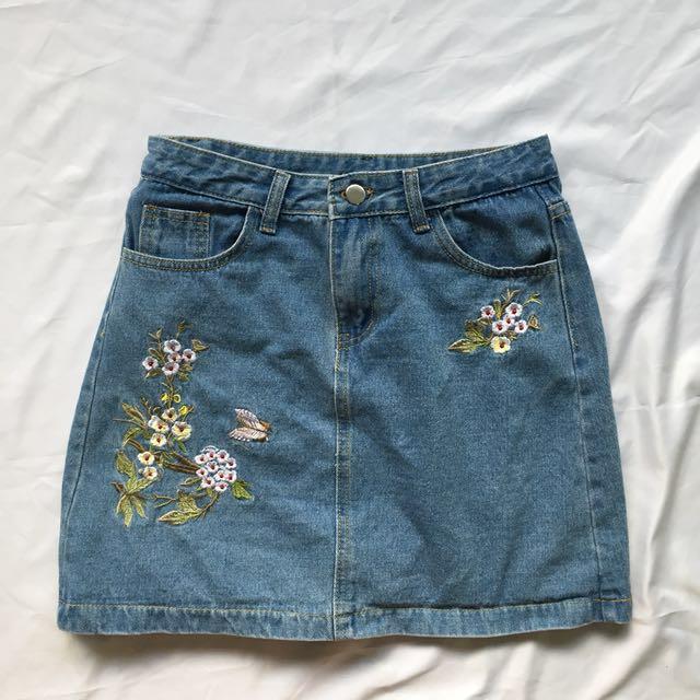 Embroidery Denim A Line Skirt