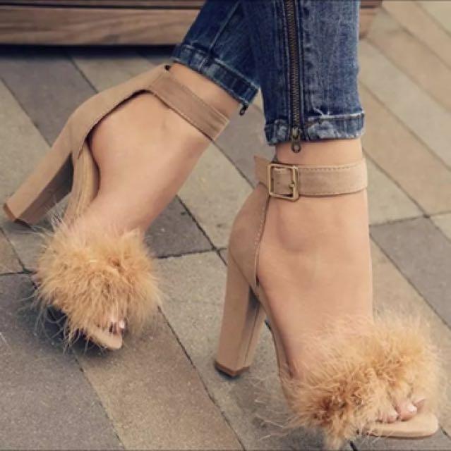 Fluffy block heels strappy sandals faux fur ostrich hair nude kardashian Jenner instagram
