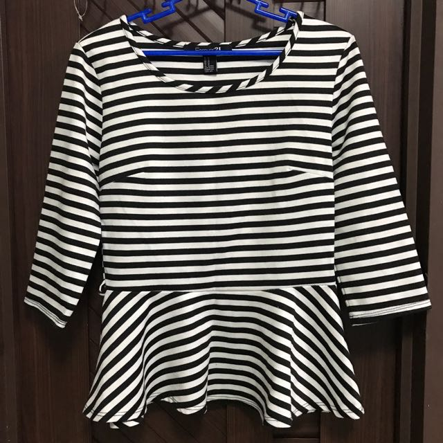 Forever 21 Striped Peplum Top