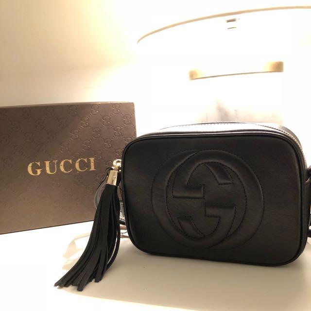 Gucci- Soho Disco textured-leather shoulder bag