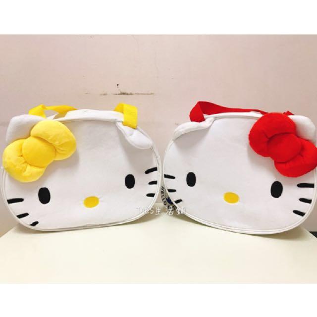 三麗鷗HELLO KITTY凱蒂貓雙胞胎絨毛臉型便當袋 環保袋 收納袋 置物袋 外出袋