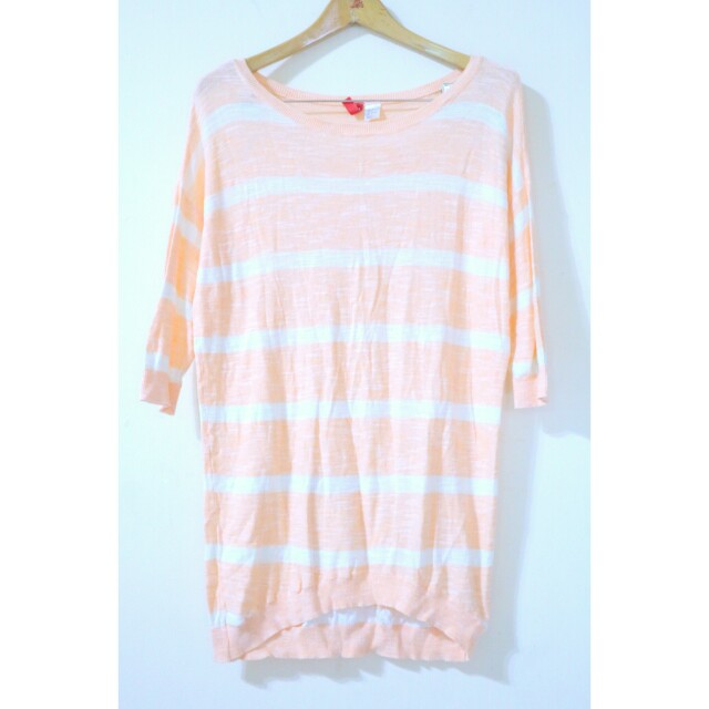 H&M peach stripe sweater
