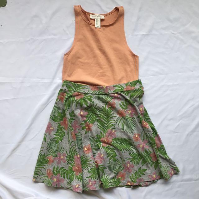 H&M Tropical Skater Skirt
