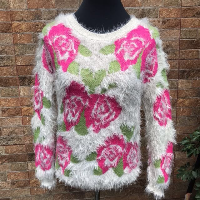 Ivory Floral Furry Sweater