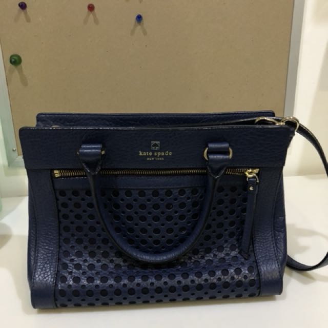 Kate Spade Romy Perri Lane French Navy Bubbles Tote