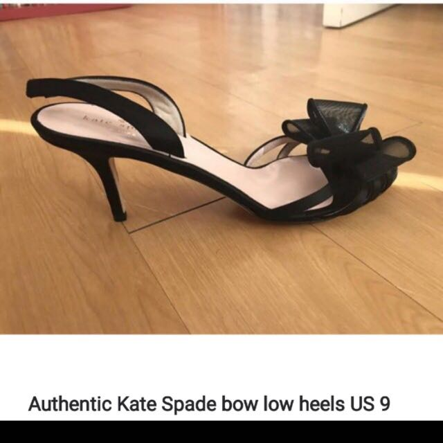 Kate Spade Salerno low bow black sling backs