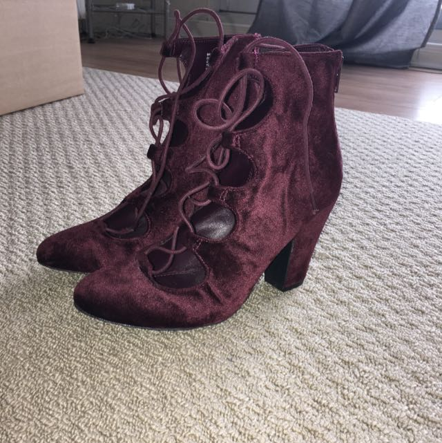Lace Up Burgundy Booties