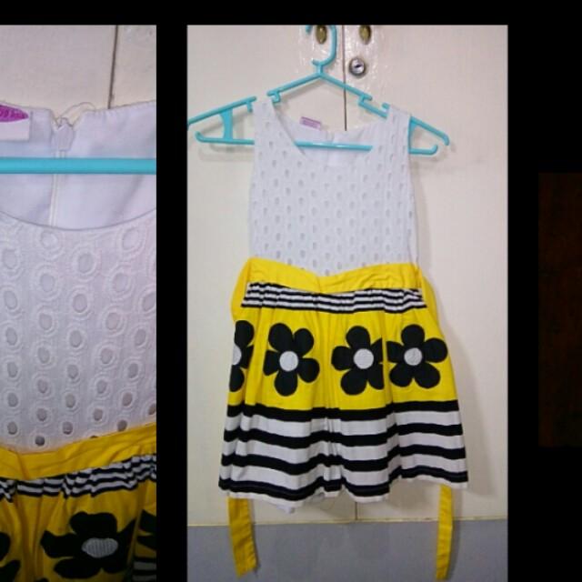 Little Miss yellow floral eyelet dress