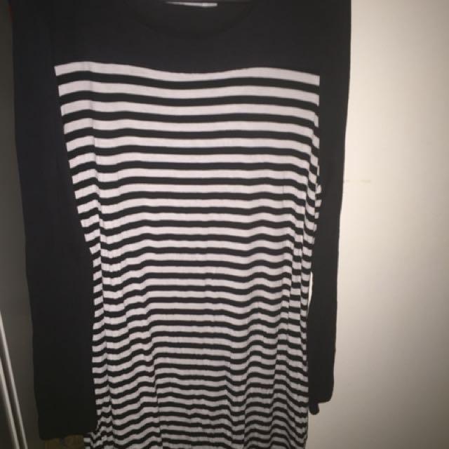 Living Doll skinny stretchy striped long sleeve dress