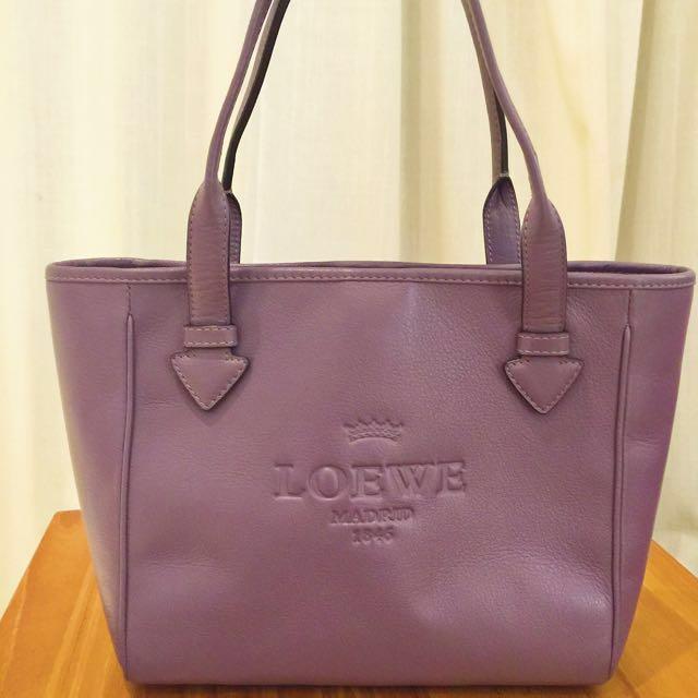 真品Loewe紫色小托特包手提包側肩包