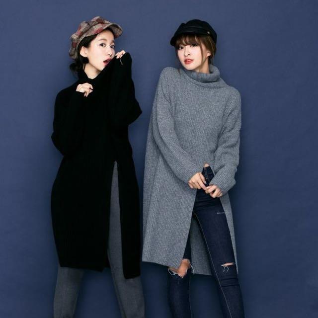 Love&Le,重磅70%羊毛開衩高領毛衣(灰)✨